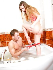 Up the butt in the bath. Blond wench pleased her man with all her tight and wet holes and got her ass creamed